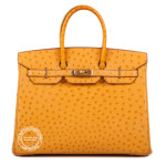 35cm Saffron Birkin in Ostrich Gold wm