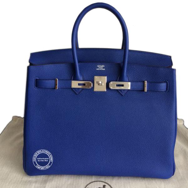 85bdd4ffb20e Hermes Birkin 35cm Bleu Electrique Clemence PHW - Lilac Blue