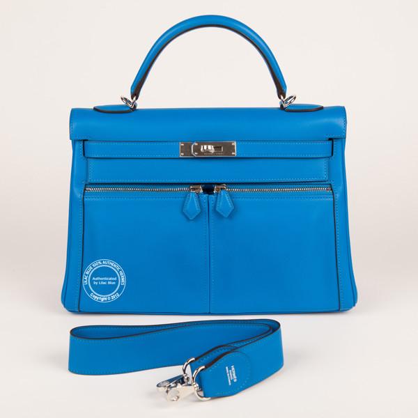 hermes inspired - 22cm Tangerine Kelly Mini Pochette. Ostrich, Gold - Lilac Blue
