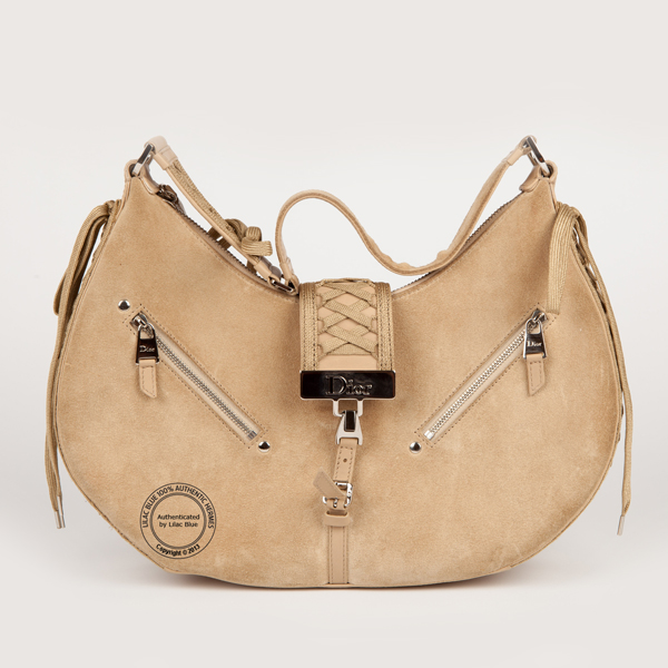 Christian Dior Beige Suede Small Shoulder Bag