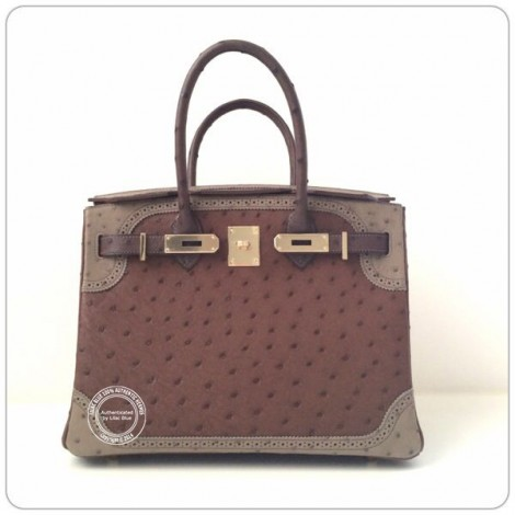 30cm Tri Colour Ghillies Birkin in  Ostrich Permabrass 600