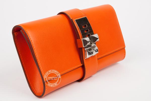 Hermes Medor Clutch 29cm Orange Swift PHW - Lilac Blue b8b364594f13