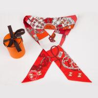 Red White and Orange Hermes Twillie 600