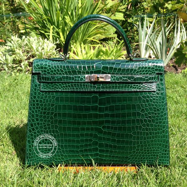 7f2f5dd4a453 Hermes Kelly 35cm Emerald Green Shiny Croc PHW - Lilac Blue