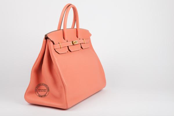 birkin bag knock off - 40cm Crevette Pink Birkin. Togo, Gold - Lilac Blue