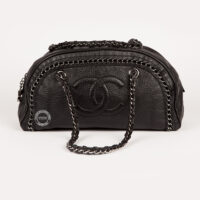 Chanel Black and Silver Small Shoulder Bag 600