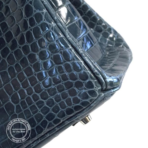c36ffa8ab86 Hermes Birkin 35cm Brighton Blue Shiny Croc PHW - Lilac Blue