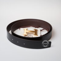 Hermes Brown Leather Belt with Gold