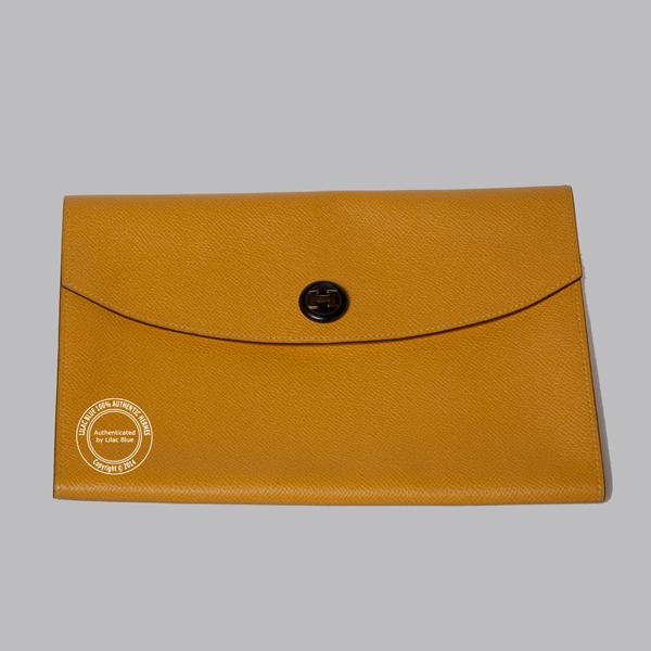 4963befbe242 Hermes Rio Envelope Clutch 24cm Yellow Epsom