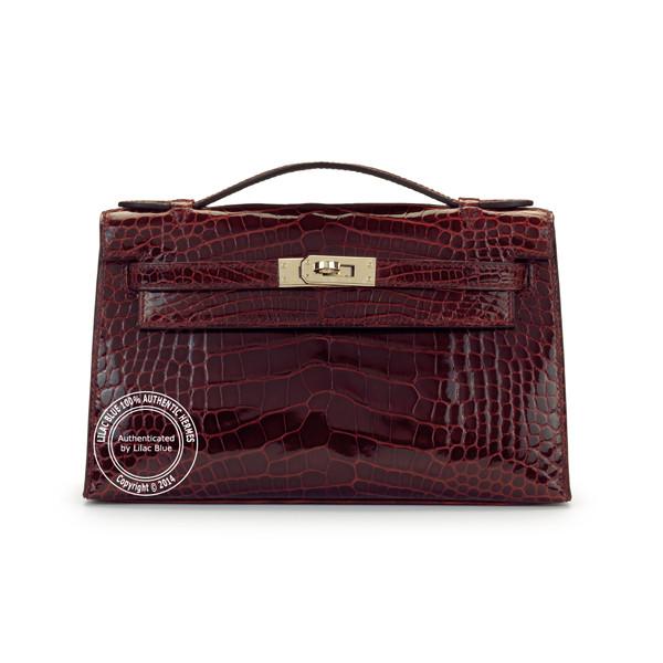 hermes bucket bag - Kelly Pochette. Burgundy, Shiny Crocodile, Silver - Lilac Blue