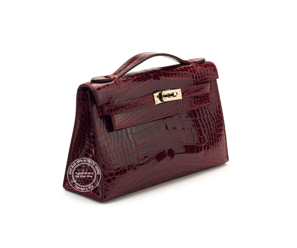 Kelly Pochette. Burgundy, Shiny Crocodile, Silver