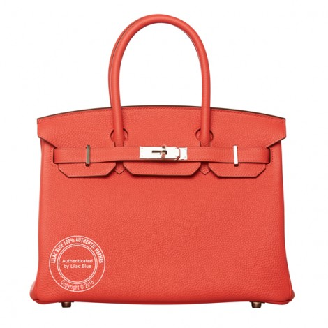 30cm Rouge Pivoine Birkin in Togo with Silver