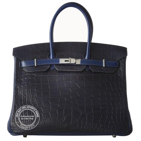 35cm Bleu Indigo Tri Skin Birkin wph main