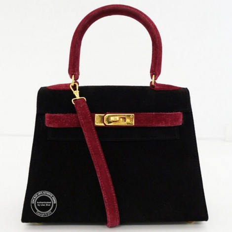20cm Black and Red Kelly in Imperial Suede with Gold