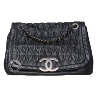 Chanel Large Black Perforated Leather Bag