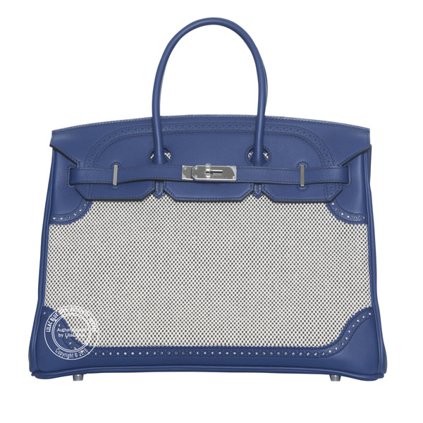 35cm Bleu Saphir & Canvas Ghillies Birkin wph front