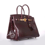 30cm Burgundy Birkin in Shiny Porosus with Gold