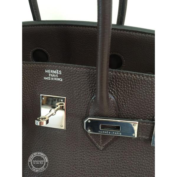 authentic hermes chocolate brown togo 35 cm birkin bag fd902b48feab9