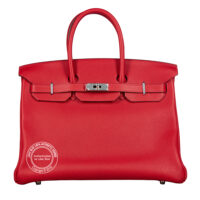 35cm Rouge Casaque Birkin TC Palladium main