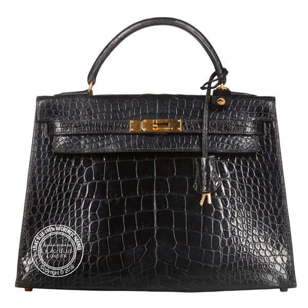 32cm Black Kelly Vintage in Crocodile with Gold