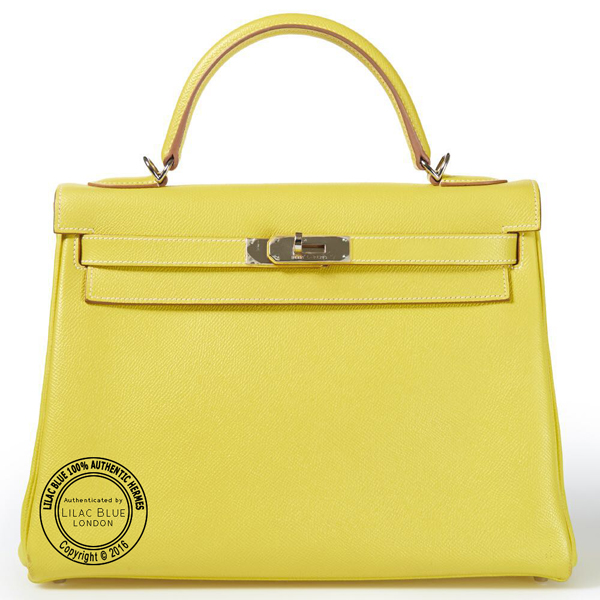 32cm Lime Candy Kelly in Epsom with Palladium Preloved