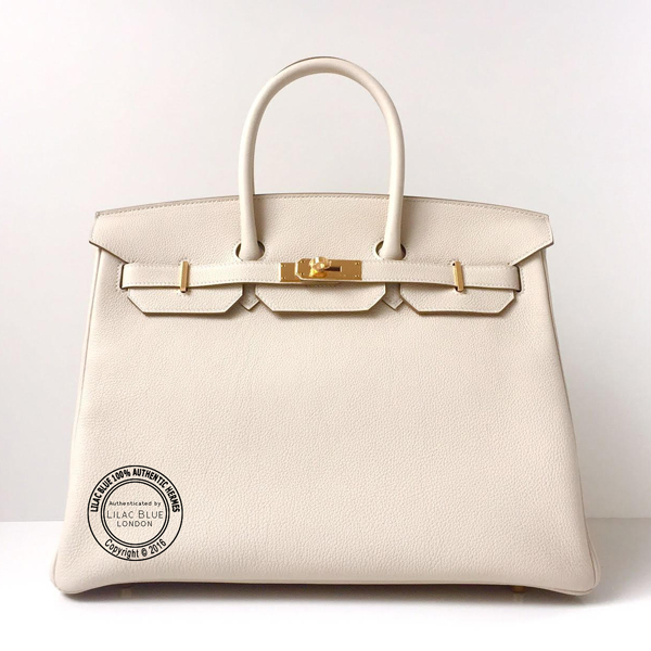 35cm White Craie Birkin with Gold