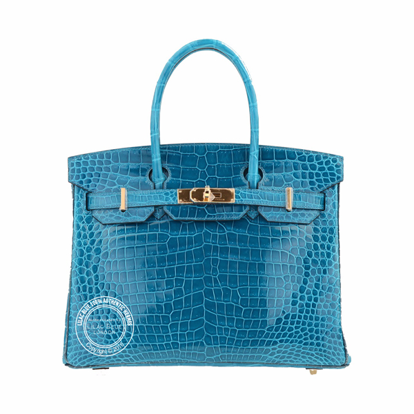 30cm Bleu Izmir & Bleu Colvert Birkin in Shiny Crocodile with Gold