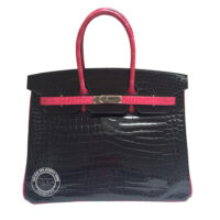 35cm Fuschia & Black Birkin in Shiny Croc with Ruthenium