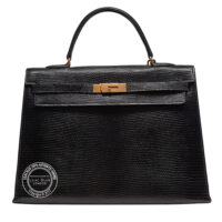 35cm Black Kelly in Lizard with Gold Vintage