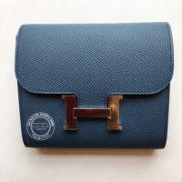 Bleu Agate and Gris Mouette Constance Compact Verso Wallet in Epsom