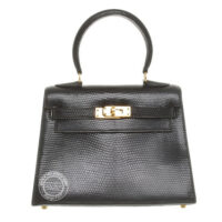 20cm Black Kelly in Lizard with Gold Vintage