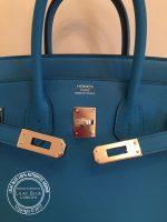 25cm Bleu Zanzibar Birkin in Swift with Palladium detail