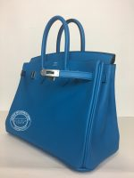 25cm Bleu Zanzibar Birkin in Swift with Palladium side