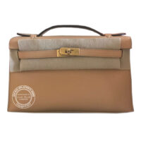 Natural Sable Kelly Mini Pochette in Swift with Gold