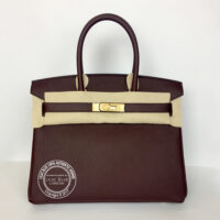 30cm Bordeaux Birkin in Togo with Gold front1