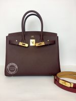 30cm Bordeaux Birkin in Togo with Gold open1