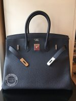 35cm Bleu Nuit Birkin in Togo with Palladium open