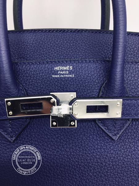 a0c212b64a1 Hermes Birkin 25cm Bleu Encre Bordeaux Officier Togo Swift PHW ...