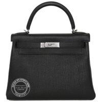 28cm Black Kelly Togo Palladium BAGS OF LUXURY