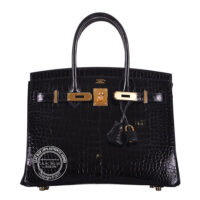 30cm Black Birkin in Crocodile with Gold