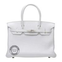 30cm White Birkin in Taurillon Clemence with Palladium PL