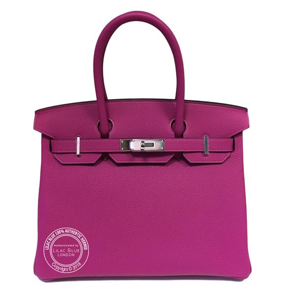 52024b898a45e Hermes Birkin 30cm Rose Pourpre Togo PHW - Lilac Blue