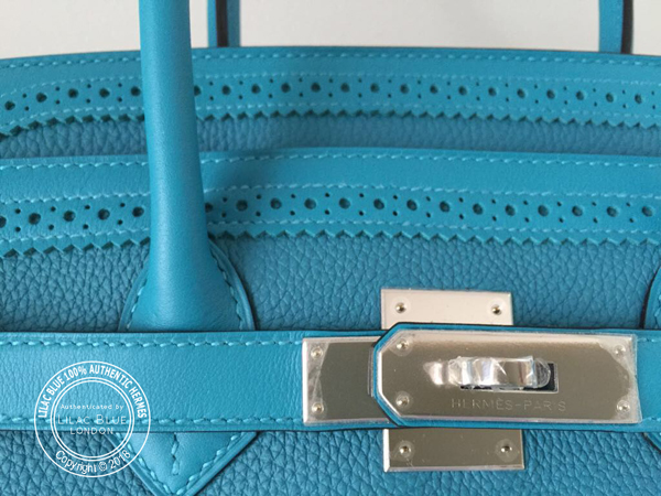 557a95a838 Hermes Birkin 35cm Turquoise Ghillies Togo Swift PHW - Lilac Blue