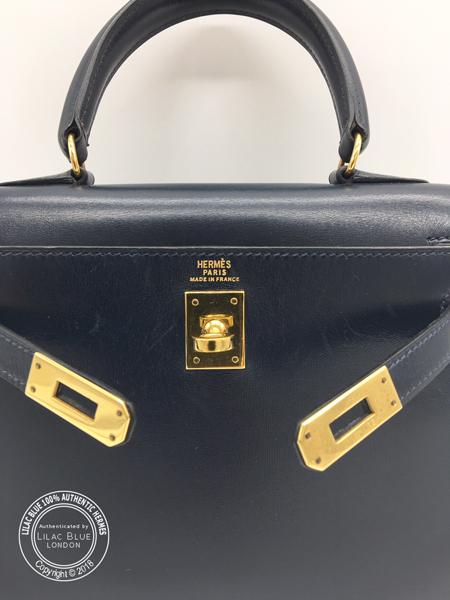 Hermes Kelly 20cm Blue Box, GHW – Vintage