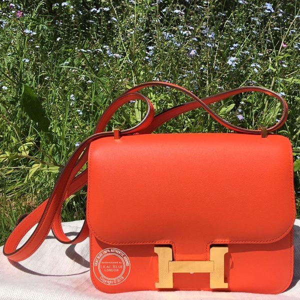 Hermes Constance 18cm Orange Poppy Swift GHW - Lilac Blue 80f61c17b2299