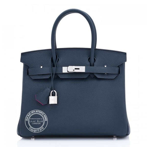 Hermes Birkin 30cm Bleu Nuit Rose Pourpre Verso Clemence PHW - Lilac ... fcb08bc5490ea