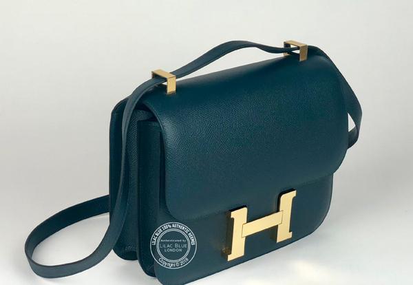 32ebec1913ce Hermes Constance 24cm Vert Cypress Epsom GHW - Lilac Blue