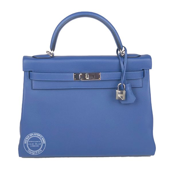 Hermes Kelly 32cm Bleu Brighton Capucine Verso Evercolor PHW - Lilac ... 5dca1cd173eaf