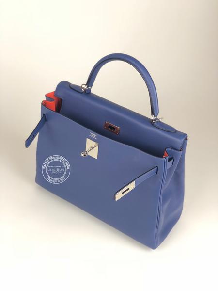 4e375f3b5626 Hermes Kelly 32cm Bleu Brighton Capucine Verso Evercolor PHW - Lilac ...