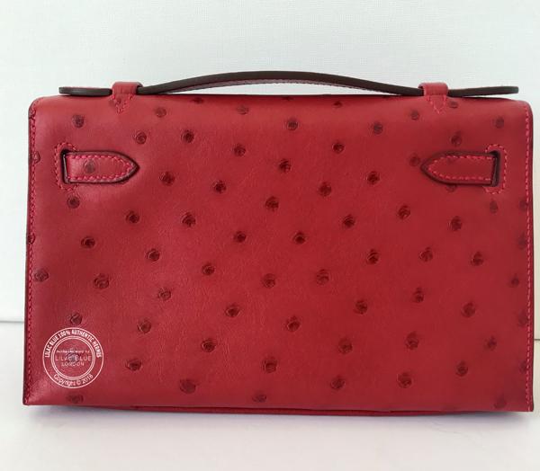5b5036f8bd02 france hermes kelly mini clutch pochette crocodile 22cm bag red ...